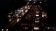 Traffic On Highway at night, Time Lapse video