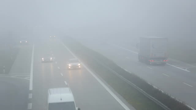 Traffic on Highway in Germany with fog, Real Time video