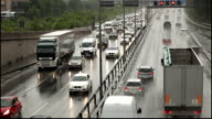 Traffic on Highway with heavy rain in Germany video