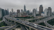 T/L WS HA ZO Traffic on Multiple Highways and Flyovers / Shanghai, China video