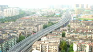 traffic on road and cityscape in hangzhou. video