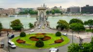 Traffic on Szechenyi Chain Bridge with Budapest, timelapse video