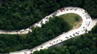 Traffic On the Santos Dumont Road  - Aerial View - Rio de Janeiro, Guapimirim, Brazil video