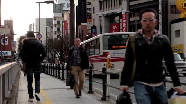 Traffic on the street in the Fukuoka city, Japan video