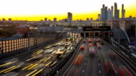 traffic on urban thoroughfare  in dusk, time lapse video