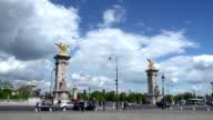 Traffic passing Pont Alexandre III, Paris video