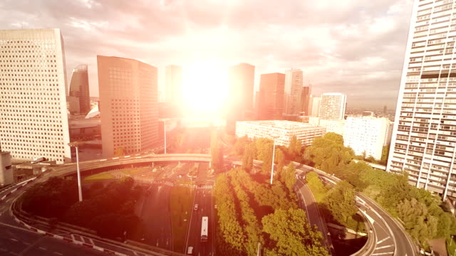 traffic road aerial view. transportation. city skyline video
