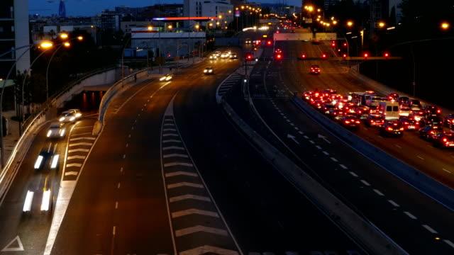 Traffic scene  at dusk. Long Exposure.Time Lapse video