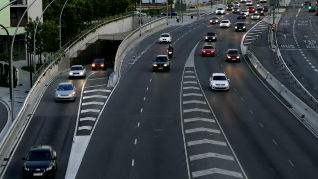 Traffic scene  at dusk.Time Lapse video