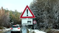 Traffic sign bad road conditions video
