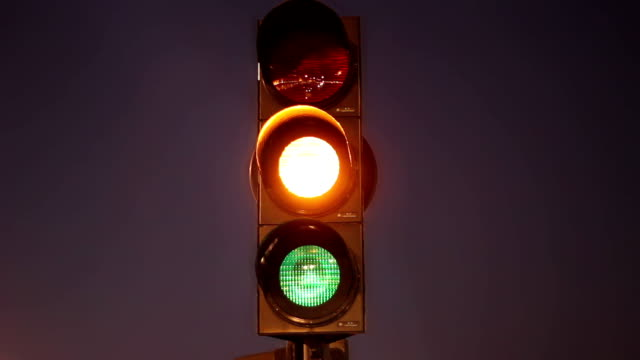 Traffic signal green yellow red video