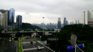 traffic , skyline of chongqing city with a cloudy background video