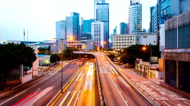 traffic through modern city at night,time lapse video