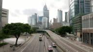 traffic through modern city,time lapse video