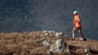 Trail runner on the ridge video