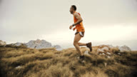 SLO MO trail running on the mountain video