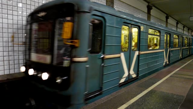 Train arrives at the Moscow metro station Chkalovskaya, The Moscow Metro is the first busiest metro system in Europe video