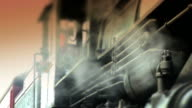 Train Conductor in Steam Engine Locomotive - Color video