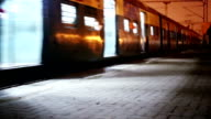 Train Entering to Station in the Night video