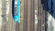 Train from above aerial shot video