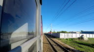 Train Goes After Stop on Sunny Day. Concept Good Mood. Railroad Car Door Closes video