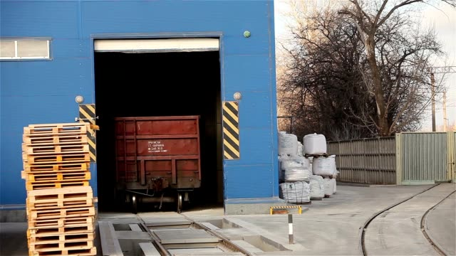 Train in stock, The train is slowly traveling around the warehouse, the production warehouse, industrial exterior video