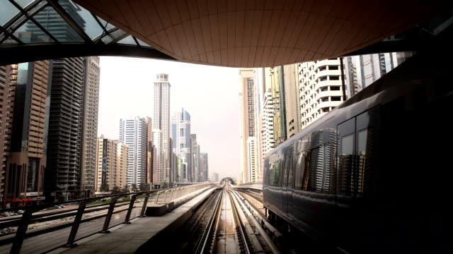 Train moving through metro station in Dubai video
