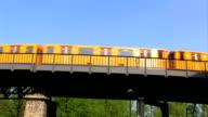 Train on the 'Oberbaumbrücke' in Berlin video