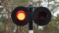 Train passing blinking warning lights with sound video