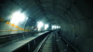 Train riding fast in a dark underground tunnel video