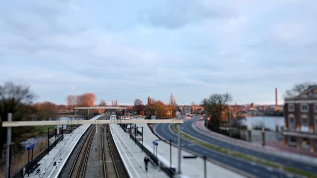 Train station time lapse tilt shift video