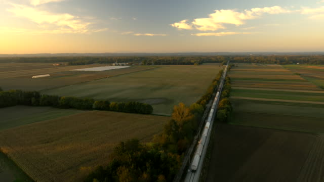 AERIAL Train Traveling Through Countryside video