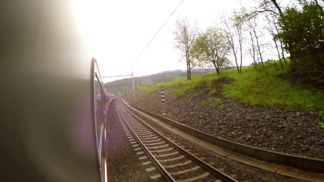 Train wide angle view out the window video