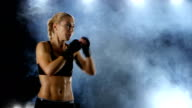 Training blows by feet strong girl boxer video