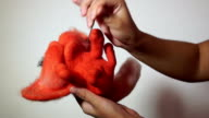 Training video - toy made in technique of dry felting video