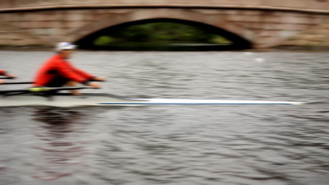 Training, workout in the Men's pairs rowing, Defocused, Close-up video