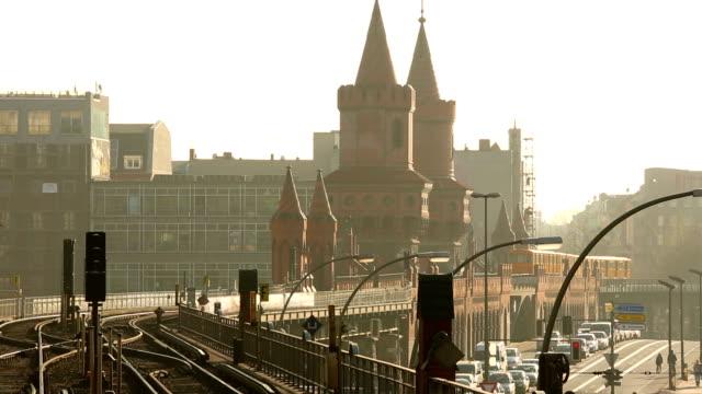 Trains on the Oberbaumbrücke in Berlin video