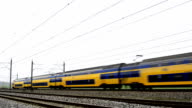 Trains passing close by at high speed video