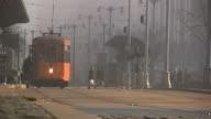 (HD1080i) Trams In Fog (Streetcar / Trolley) video