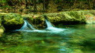 Tranquil cascade of  waterfall in beautiful green nature, Time lapse video