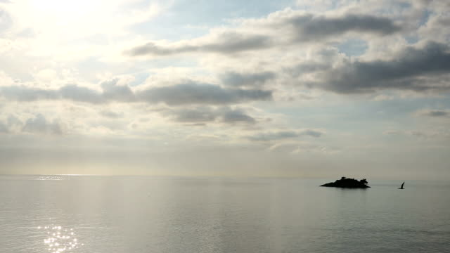 Tranquil scene across sea, sunset video