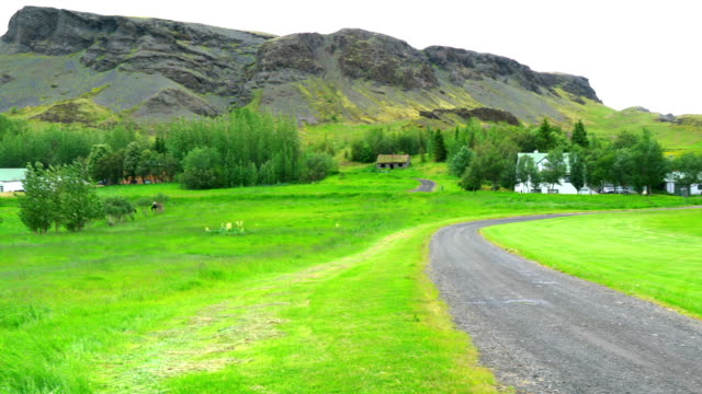 Tranquil view of a village at rural Iceland video