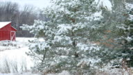 Tranquil, Winter Wonderland With Red Barn video