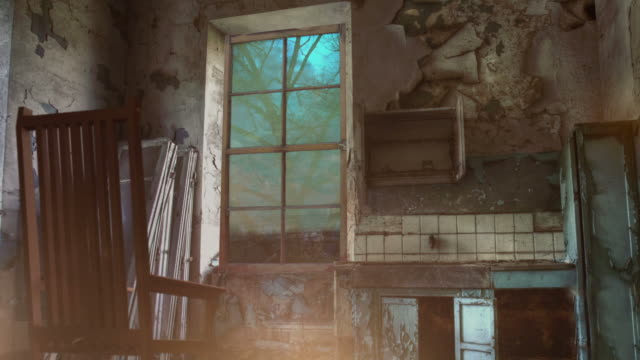 transition between night and day in deserted interior video