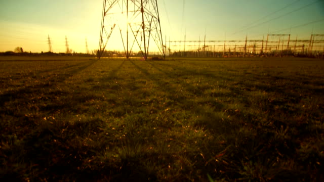 Transmission Tower At Sunset video