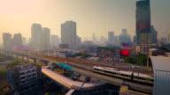 Transportation in Bangkok city Aerial view video