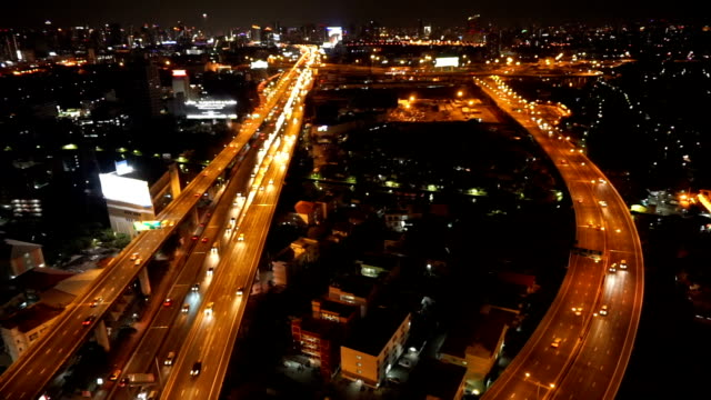 transportation industrial concept, Footage of massive expressway at night from top view video
