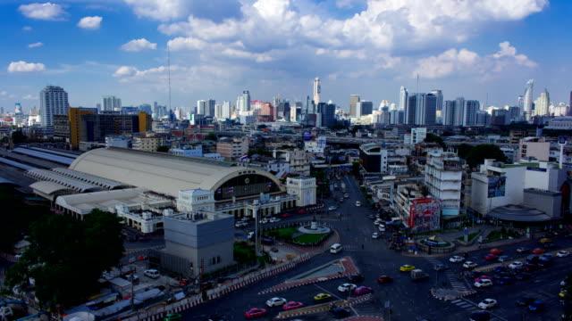Transportation near Hua Lamphong junction in after work hour video