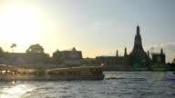 transportation on river at Wat Arun, Bangkok, Thailand video