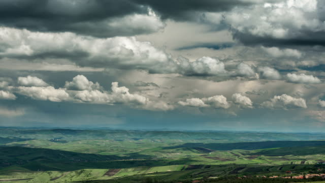 Transylvania Patchwork landscape rain storm in distance video